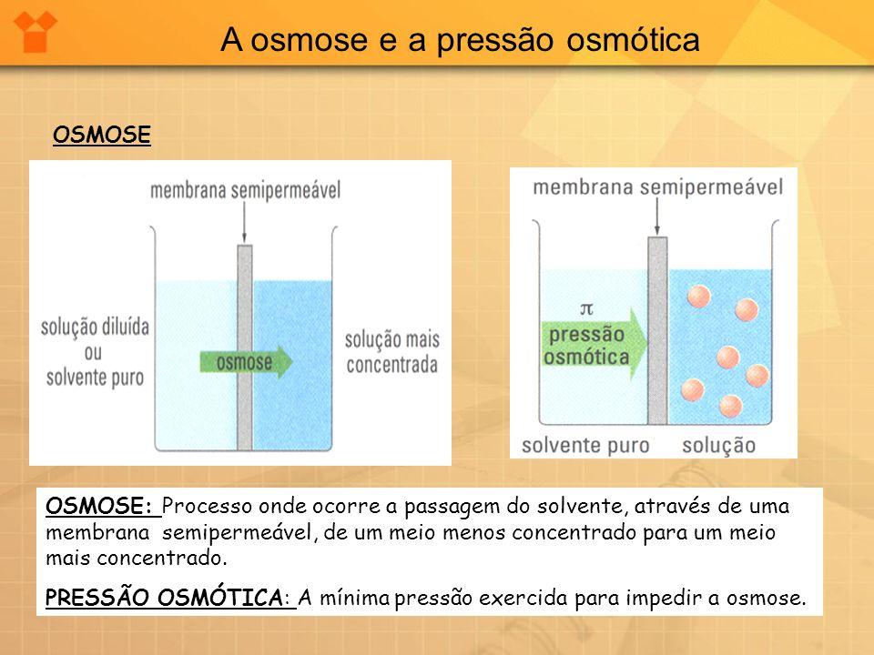A osmose e a pressão osmótica