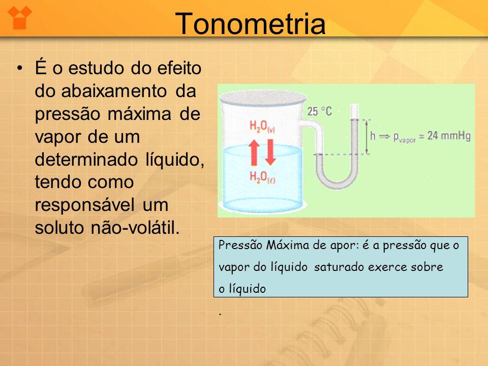 Tonometria É o estudo do efeito do abaixamento da pressão máxima de vapor de um determinado líquido, tendo como responsável um soluto não-volátil.