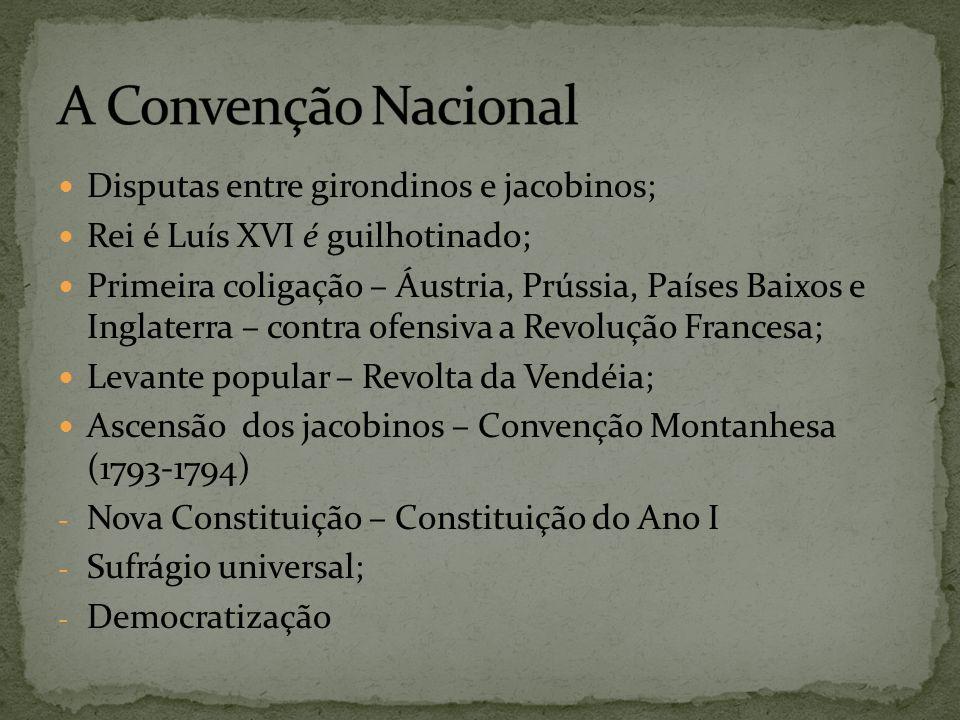 A Convenção Nacional Disputas entre girondinos e jacobinos;