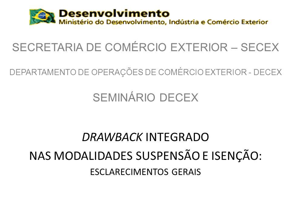 SECRETARIA DE COMÉRCIO EXTERIOR – SECEX DEPARTAMENTO DE OPERAÇÕES DE COMÉRCIO EXTERIOR - DECEX SEMINÁRIO DECEX