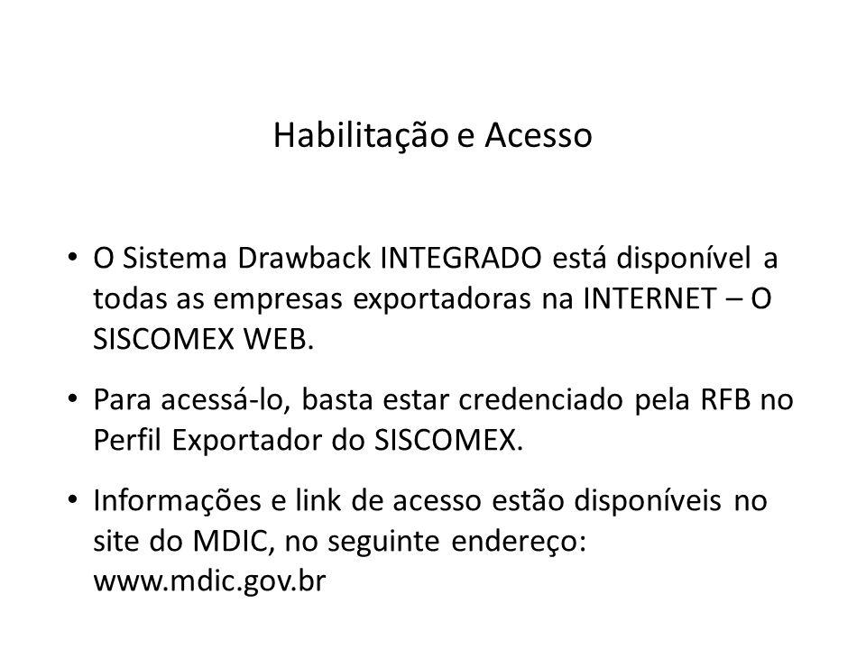 Habilitação e Acesso O Sistema Drawback INTEGRADO está disponível a todas as empresas exportadoras na INTERNET – O SISCOMEX WEB.