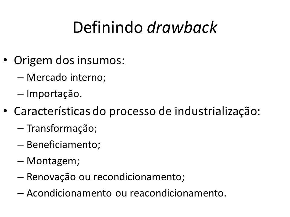 Definindo drawback Origem dos insumos: