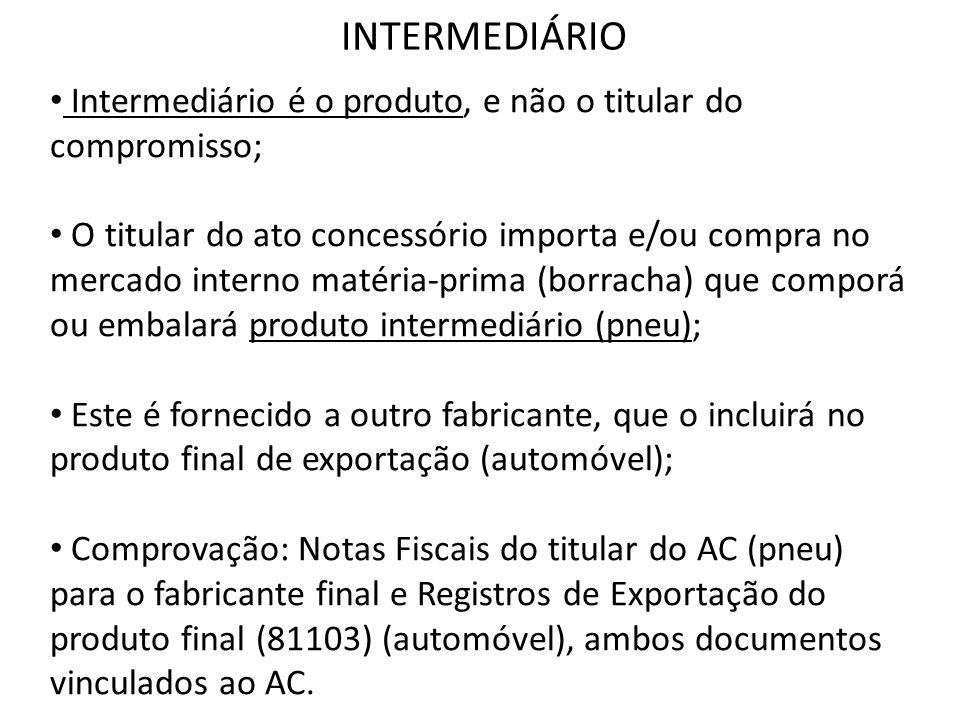 INTERMEDIÁRIO Intermediário é o produto, e não o titular do compromisso;