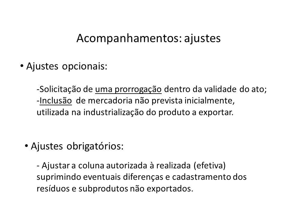 Acompanhamentos: ajustes