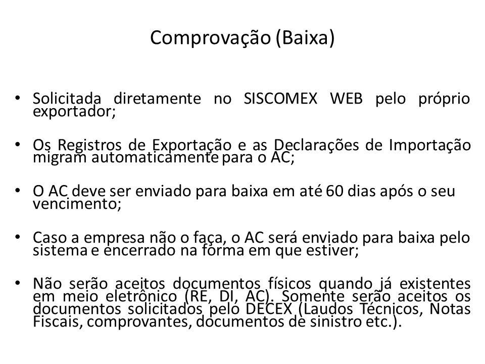 Comprovação (Baixa) Solicitada diretamente no SISCOMEX WEB pelo próprio exportador;