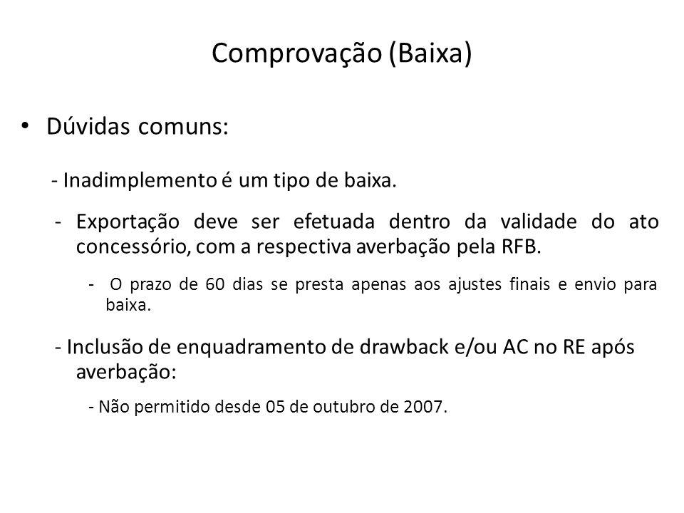 Comprovação (Baixa) Dúvidas comuns: