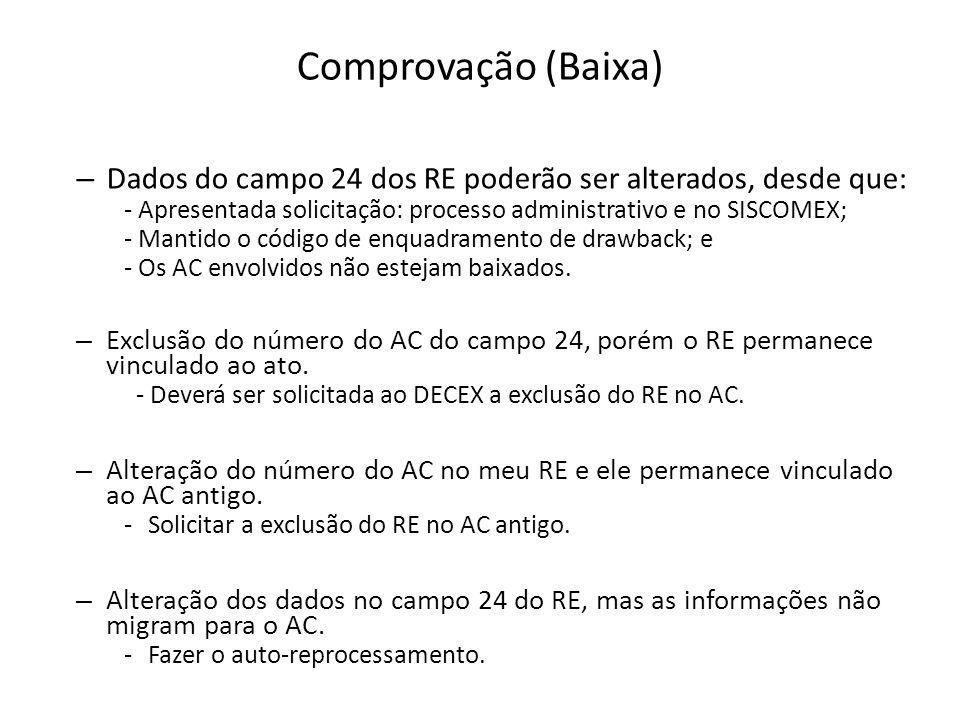 Comprovação (Baixa) Dados do campo 24 dos RE poderão ser alterados, desde que: - Apresentada solicitação: processo administrativo e no SISCOMEX;