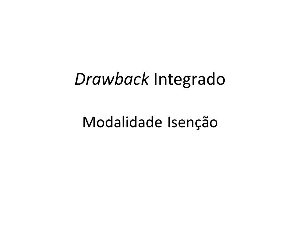 Drawback Integrado Modalidade Isenção