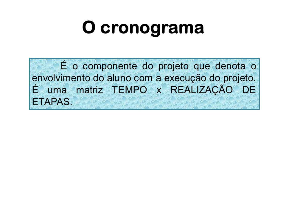 O cronogramaÉ o componente do projeto que denota o envolvimento do aluno com a execução do projeto.