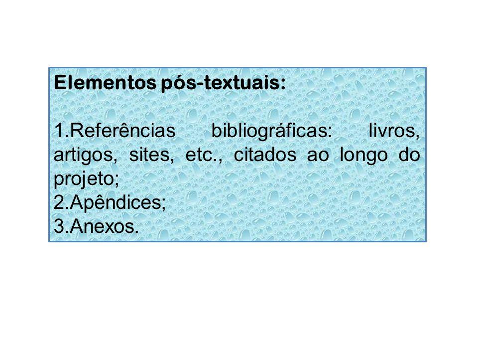 Elementos pós-textuais: