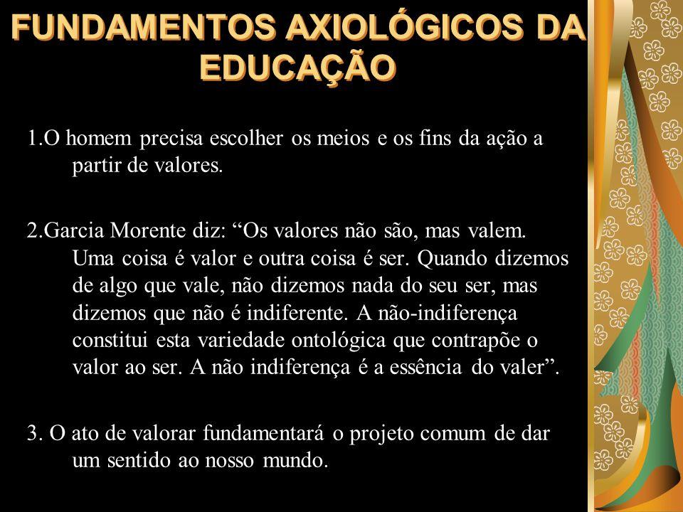 FUNDAMENTOS AXIOLÓGICOS DA EDUCAÇÃO