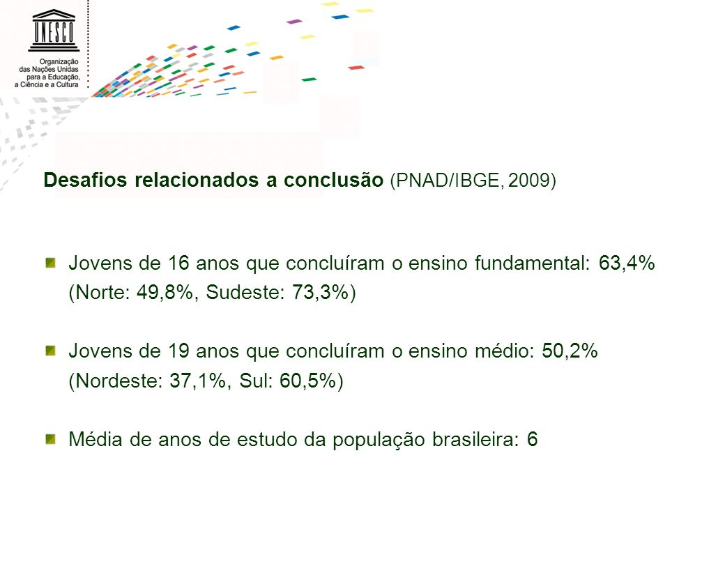 Desafios relacionados a conclusão (PNAD/IBGE, 2009)