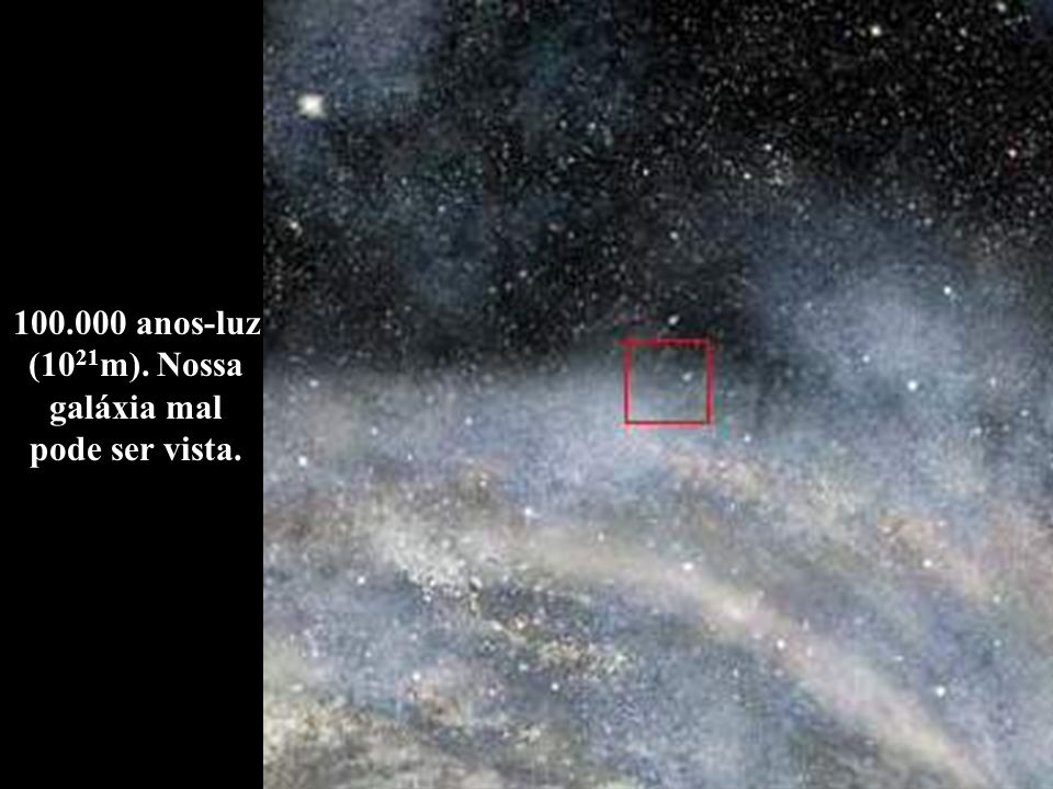 100.000 anos-luz (1021m). Nossa galáxia mal pode ser vista.