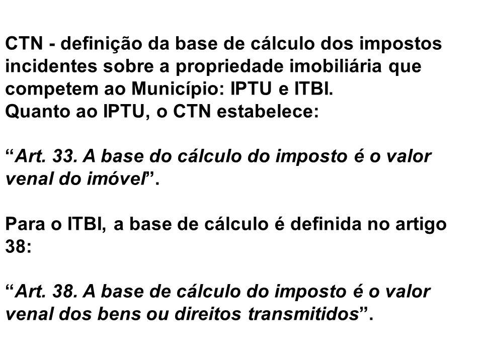 CTN - definição da base de cálculo dos impostos