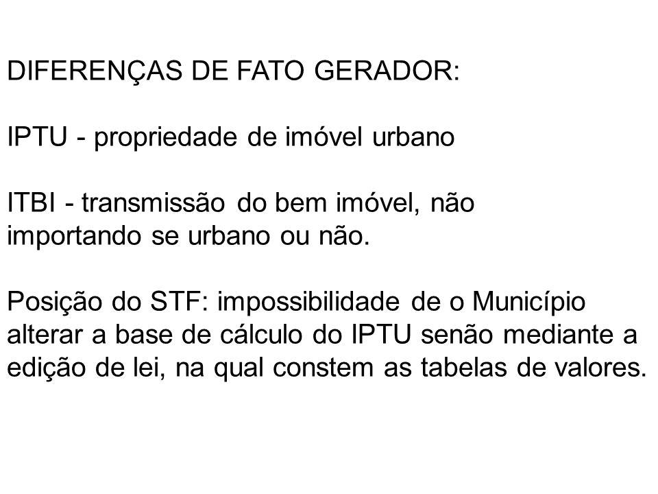 DIFERENÇAS DE FATO GERADOR:
