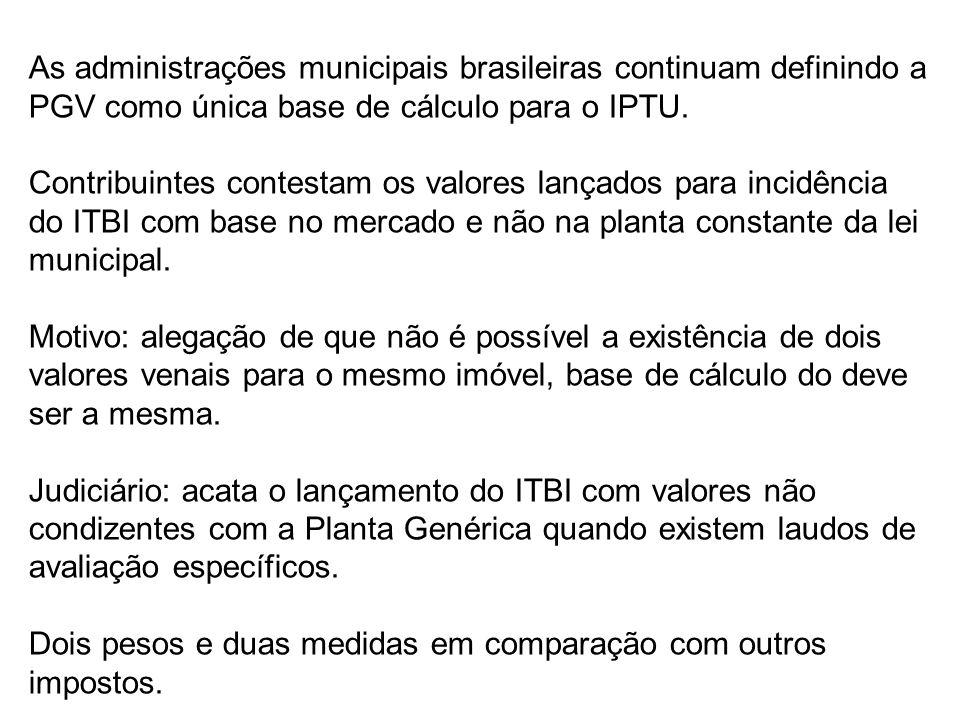 As administrações municipais brasileiras continuam definindo a PGV como única base de cálculo para o IPTU.