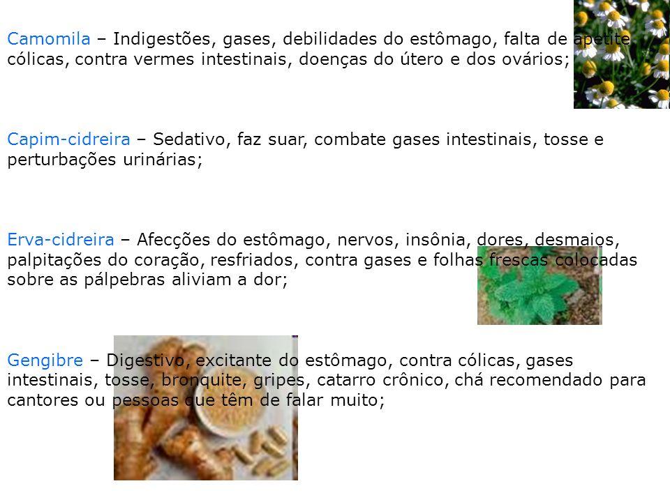 Camomila – Indigestões, gases, debilidades do estômago, falta de apetite, cólicas, contra vermes intestinais, doenças do útero e dos ovários;