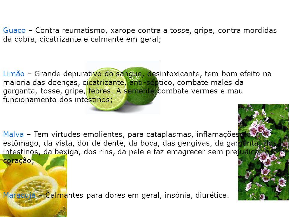 Guaco – Contra reumatismo, xarope contra a tosse, gripe, contra mordidas da cobra, cicatrizante e calmante em geral;