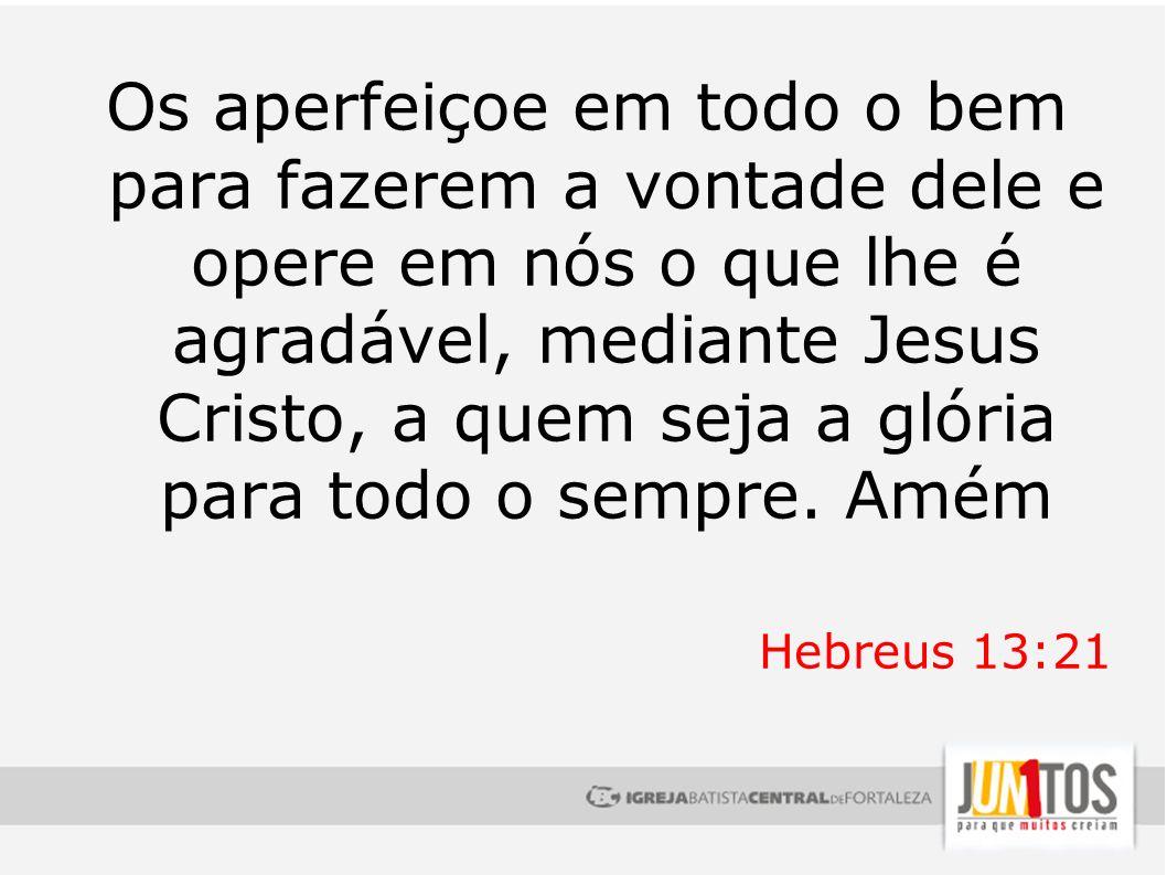 Os aperfeiçoe em todo o bem para fazerem a vontade dele e opere em nós o que lhe é agradável, mediante Jesus Cristo, a quem seja a glória para todo o sempre. Amém