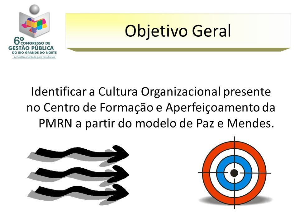 Objetivo Geral Identificar a Cultura Organizacional presente no Centro de Formação e Aperfeiçoamento da PMRN a partir do modelo de Paz e Mendes.
