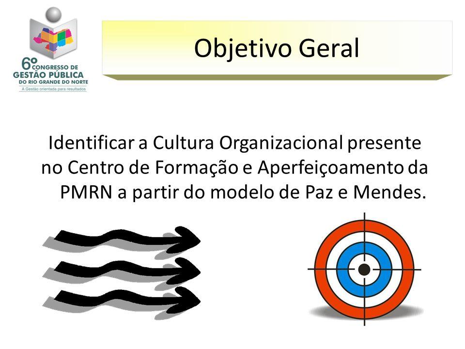 Objetivo GeralIdentificar a Cultura Organizacional presente no Centro de Formação e Aperfeiçoamento da PMRN a partir do modelo de Paz e Mendes.