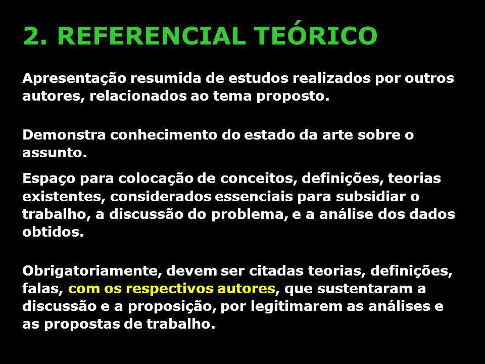 2. REFERENCIAL TEÓRICOApresentação resumida de estudos realizados por outros autores, relacionados ao tema proposto.