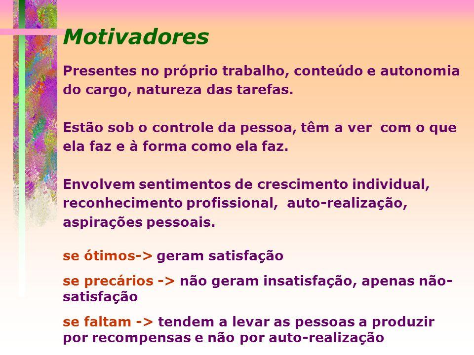 Motivadores Presentes no próprio trabalho, conteúdo e autonomia do cargo, natureza das tarefas.