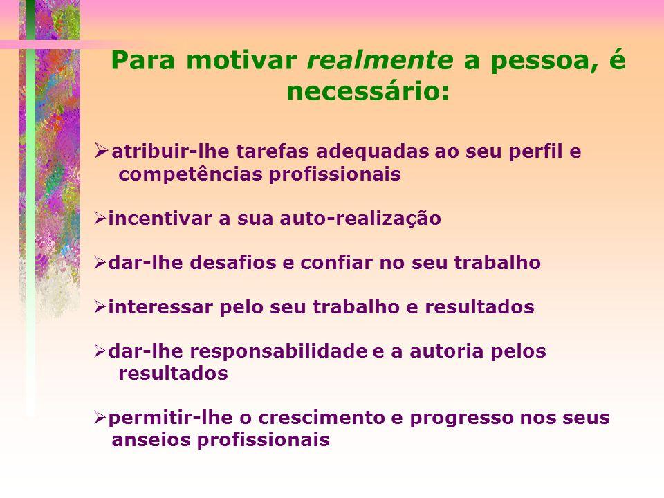 Para motivar realmente a pessoa, é necessário: