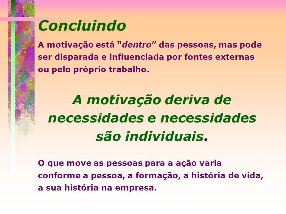 A motivação deriva de necessidades e necessidades são individuais.