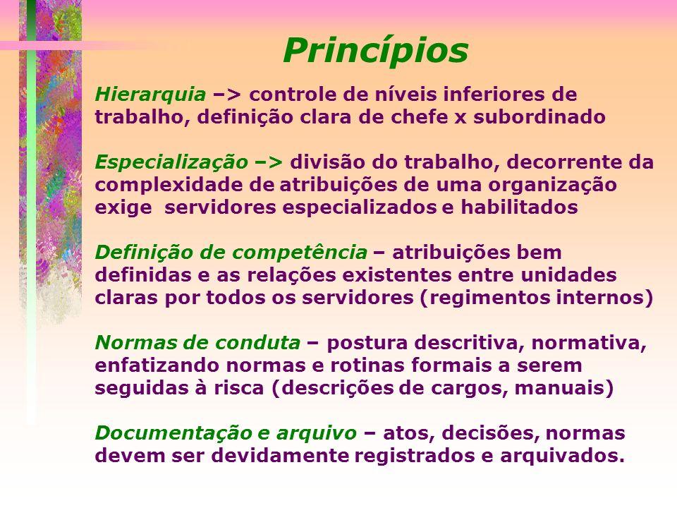 Princípios Hierarquia –> controle de níveis inferiores de trabalho, definição clara de chefe x subordinado.