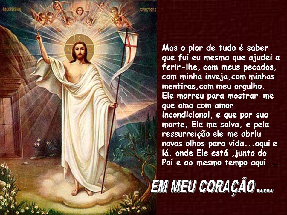 Mas o pior de tudo é saber que fui eu mesma que ajudei a ferir-lhe, com meus pecados, com minha inveja,com minhas mentiras,com meu orgulho. Ele morreu para mostrar-me que ama com amor incondicional, e que por sua morte, Ele me salva, e pela ressurreição ele me abriu novos olhos para vida...aqui e lá, onde Ele está ,junto do Pai e ao mesmo tempo aqui ...