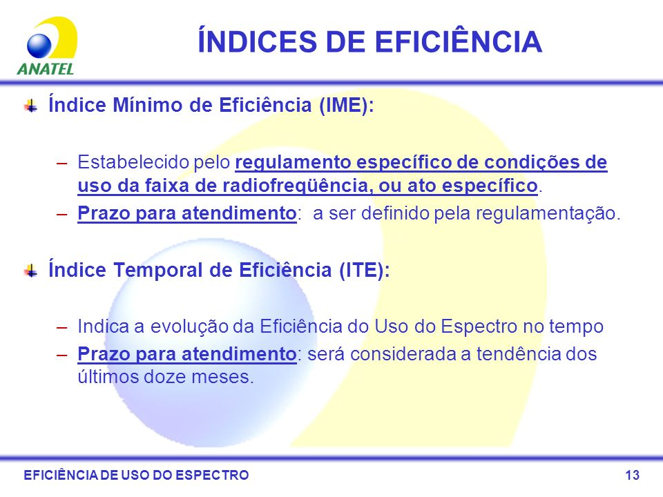 ÍNDICES DE EFICIÊNCIA Índice Mínimo de Eficiência (IME):