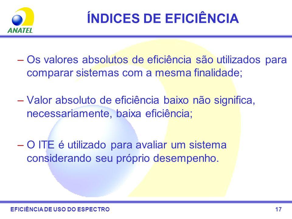 ÍNDICES DE EFICIÊNCIA Os valores absolutos de eficiência são utilizados para comparar sistemas com a mesma finalidade;