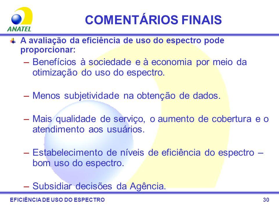 COMENTÁRIOS FINAIS A avaliação da eficiência de uso do espectro pode proporcionar: