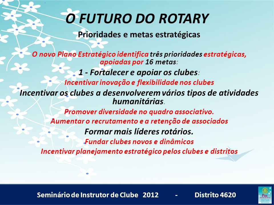 O FUTURO DO ROTARY Prioridades e metas estratégicas