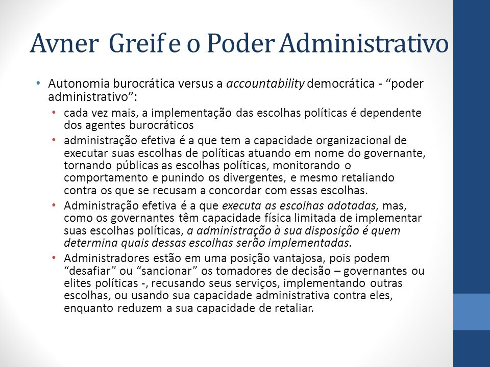 Avner Greif e o Poder Administrativo