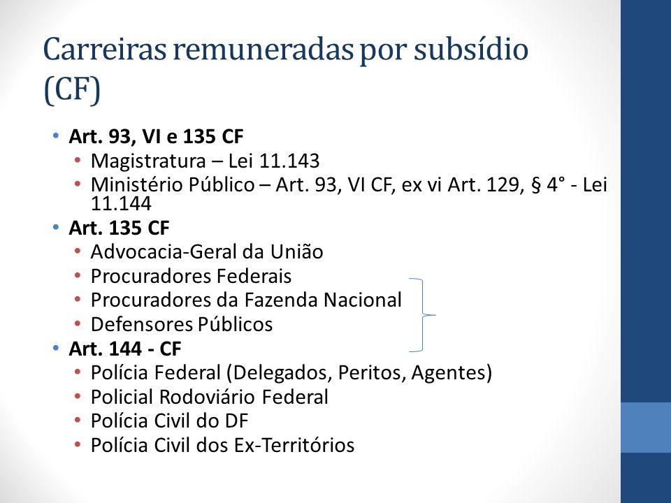 Carreiras remuneradas por subsídio (CF)