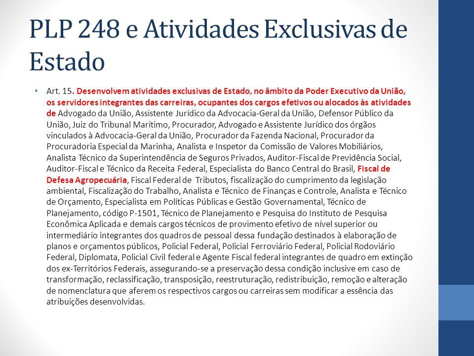 PLP 248 e Atividades Exclusivas de Estado