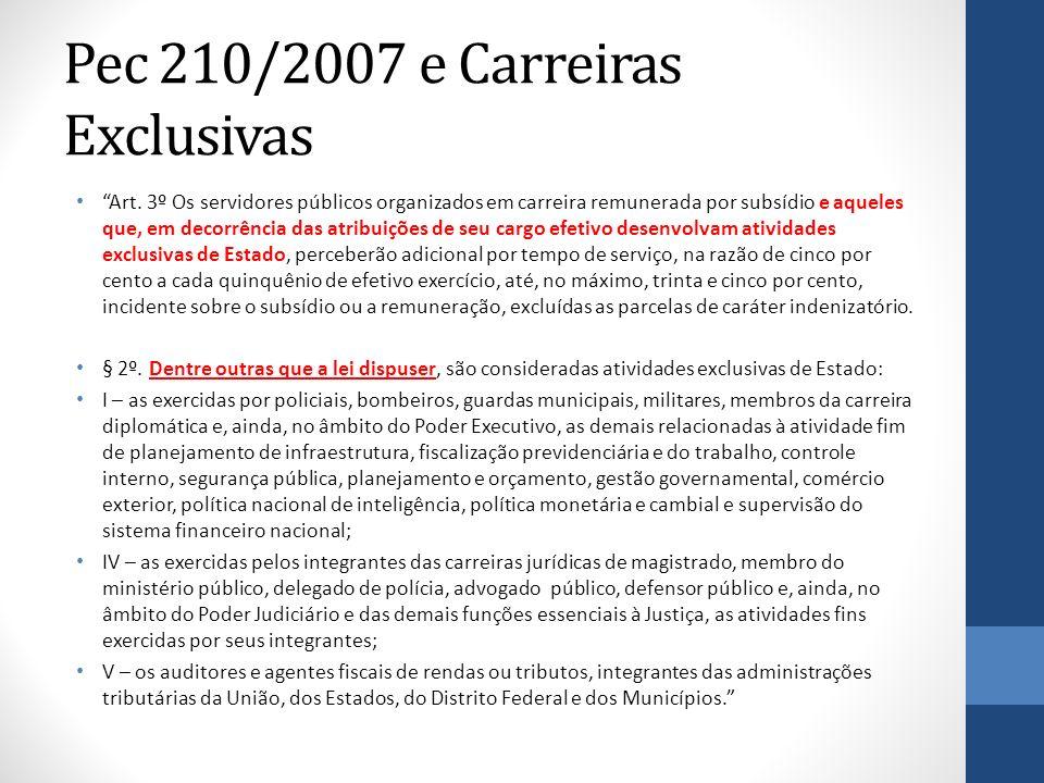 Pec 210/2007 e Carreiras Exclusivas