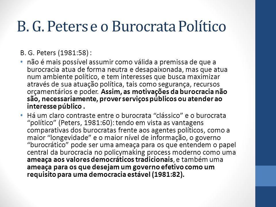 B. G. Peters e o Burocrata Político