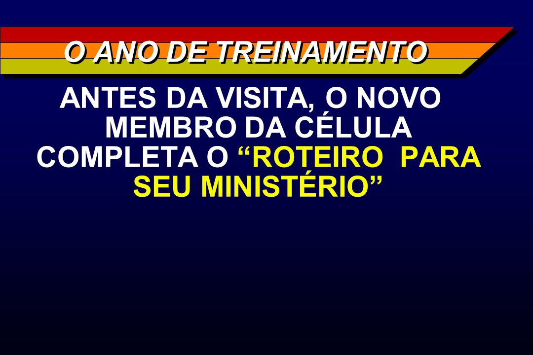 O ANO DE TREINAMENTO ANTES DA VISITA, O NOVO MEMBRO DA CÉLULA COMPLETA O ROTEIRO PARA SEU MINISTÉRIO