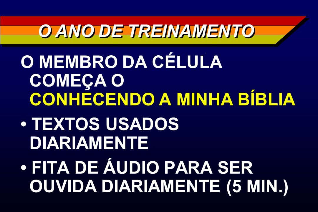 O ANO DE TREINAMENTOO MEMBRO DA CÉLULA COMEÇA O CONHECENDO A MINHA BÍBLIA. • TEXTOS USADOS DIARIAMENTE.