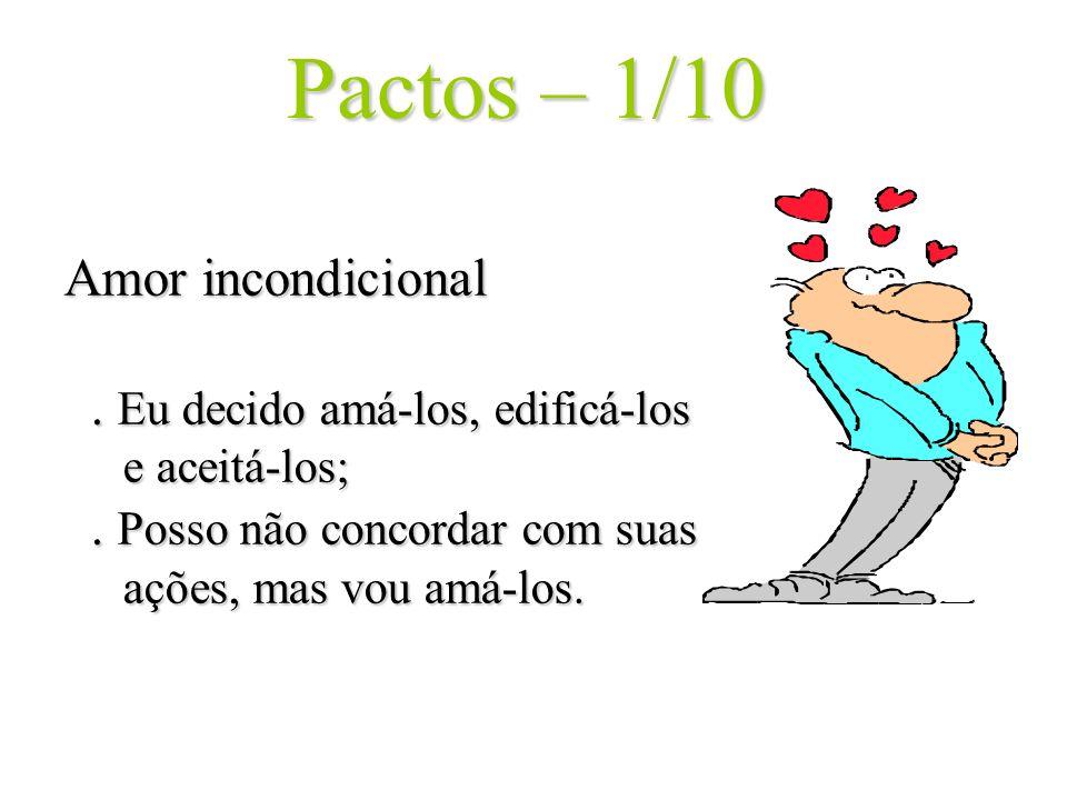 Pactos – 1/10 Amor incondicional . Eu decido amá-los, edificá-los e aceitá-los; .