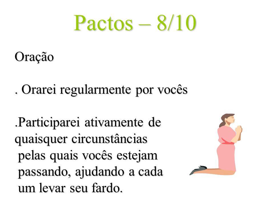 Pactos – 8/10 Oração . Orarei regularmente por vocês