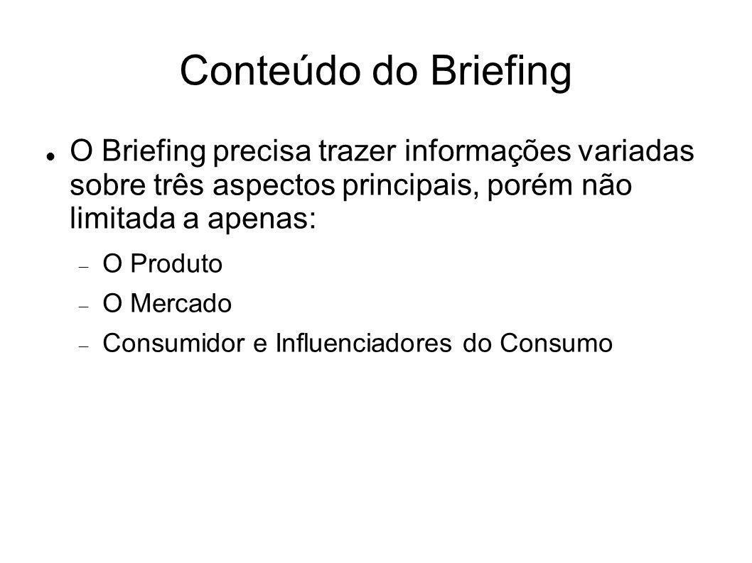 Conteúdo do Briefing O Briefing precisa trazer informações variadas sobre três aspectos principais, porém não limitada a apenas: