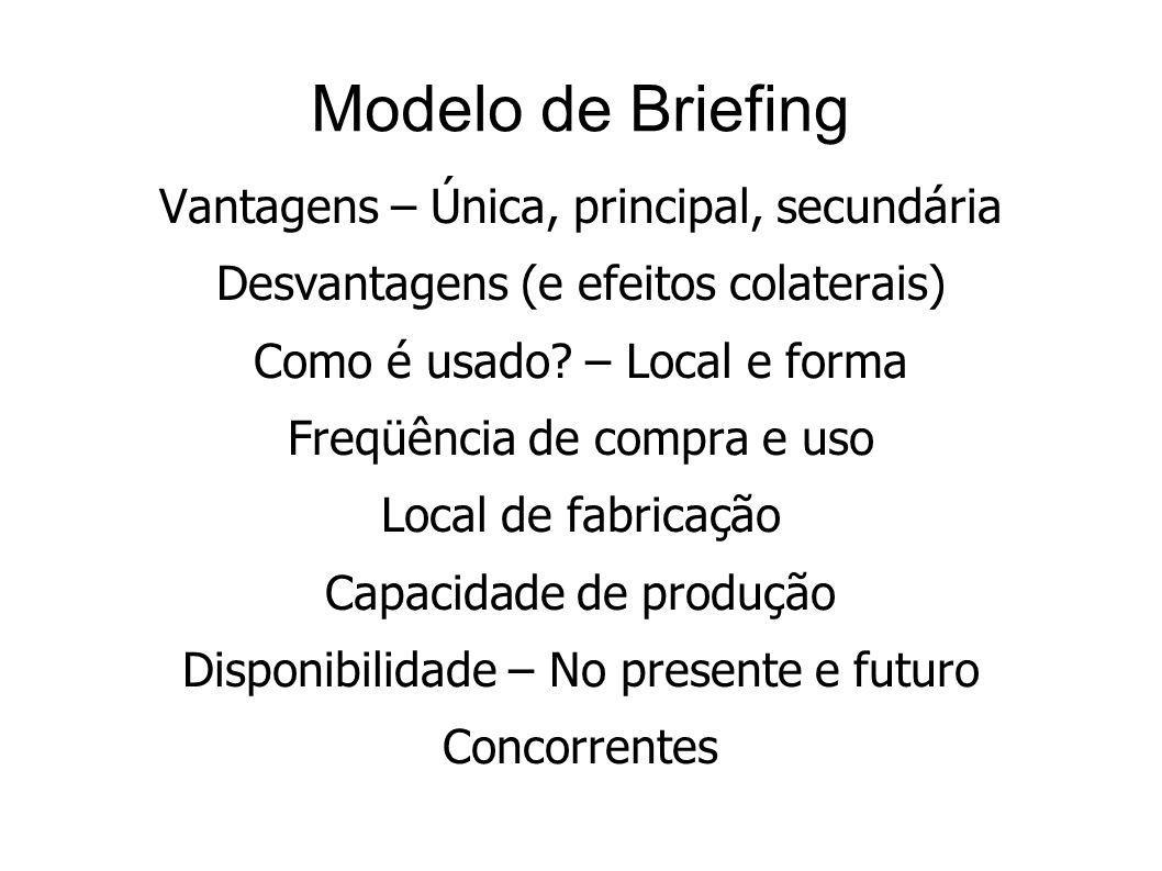 Modelo de Briefing Vantagens – Única, principal, secundária