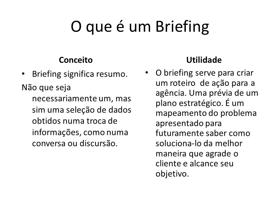 O que é um Briefing Conceito Utilidade Briefing significa resumo.