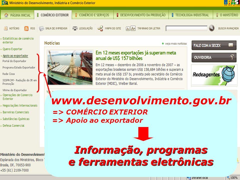 www.desenvolvimento.gov.br Informação, programas