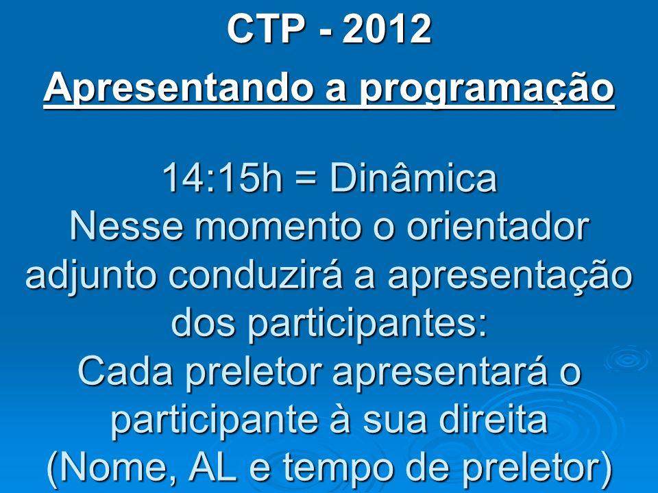 CTP - 2012 Apresentando a programação