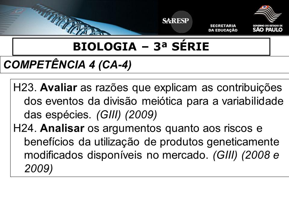 BIOLOGIA – 3ª SÉRIE COMPETÊNCIA 4 (CA-4)